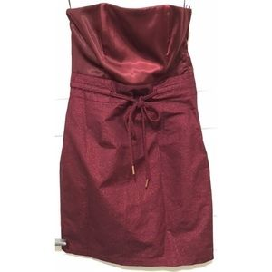 H&M Wine Red Strapless Cocktail Dress